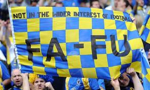 AFC Wimbledon fans during their Blue Square Bet Premier League play-off final